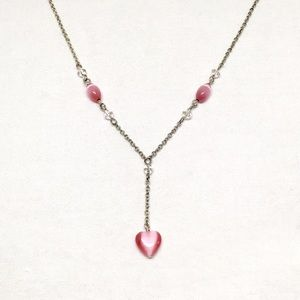 Jewelry - Vintage Pink Heart Drop Necklace